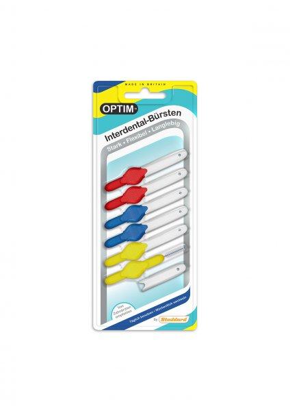 OPTIM interdental brush 6 er blister pack MIX MEDIUM R/B/Y